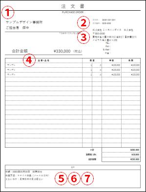 注文書のサンプル
